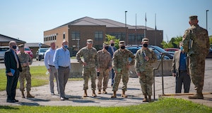 A site survey team visits the 179th Airlift Wing in Mansfield, Ohio, as part of the Air Force site selection process for a cyber warfare wing. The Air Force announced the selection of the base for the Air National Guard's first cyber wing Aug. 25, 2021.