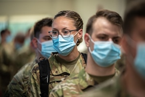 Airman 1st Class Audrey Parios, a C-130 crew chief in the Kentucky Air National Guard, reports to Baptist Hospital East in Louisville, Ky., Sept. 14, 2021, to provide logistical support to medical staff struggling to keep pace with the rising number of critically ill COVID patients. She is one of 310 Kentucky Army and Air National Guard Soldiers and Airmen who were activated by Gov. Andy Beshear to provide non-clinical support to 21 hospitals across the commonwealth.