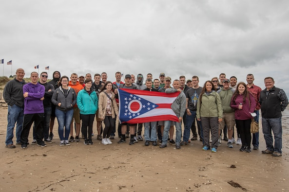 174th Air Defense Artillery HHC explores the terrain on D-Day staff ride