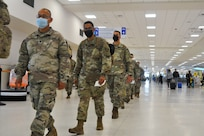 Members of the Puerto Rico National Guard, 190th Engineering Battalion, head to Louisiana Sept. 16, 2021, to assist with Hurricane Ida recovery efforts. The PRNG sent 43 engineers to help assess damage to Louisiana bridges and roads in the aftermath of the storm.