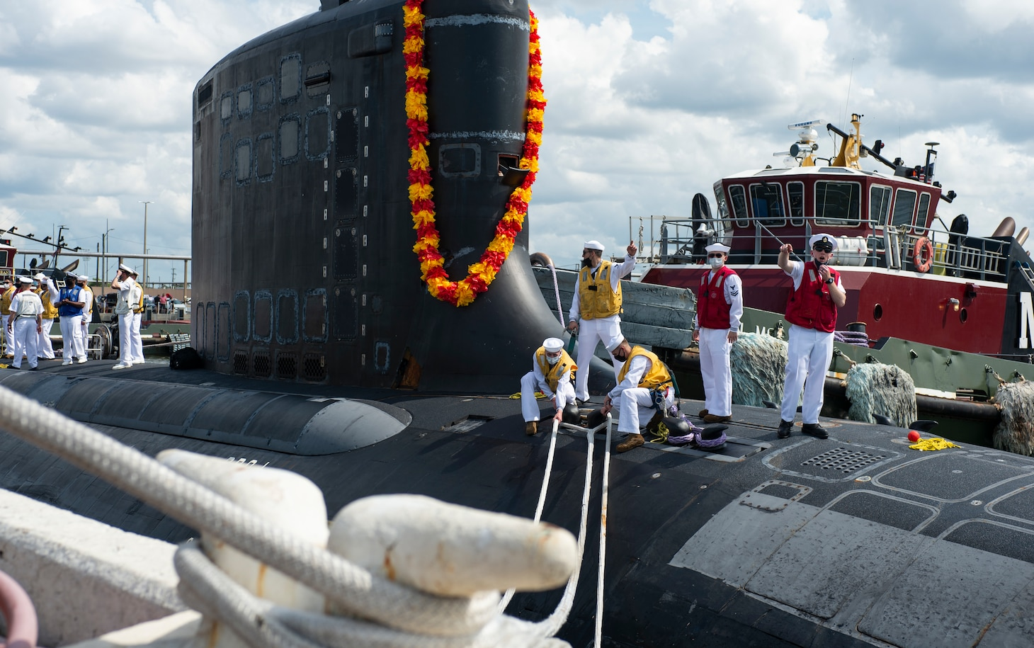 The Virginia-class fast-attack submarine USS New Mexico (SSN 779) returns to its homeport at Naval Station Norfolk, Sept. 15, 2021.