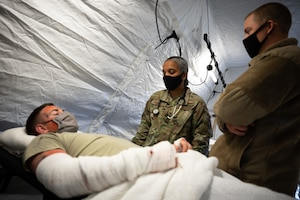 U.S. Airmen assigned to the 354th Fighter Wing and the 673rd Medical Group participate in a Capabilities-Based Assessment (CBA) at the Yukon Training Area, Sept. 14, 2021.