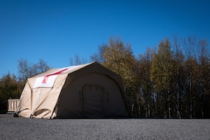 An Air Transportable Clinic (ATC) is set up at the Yukon Training Area during a Capabilities-Based Assessment, Sept. 14, 2021.