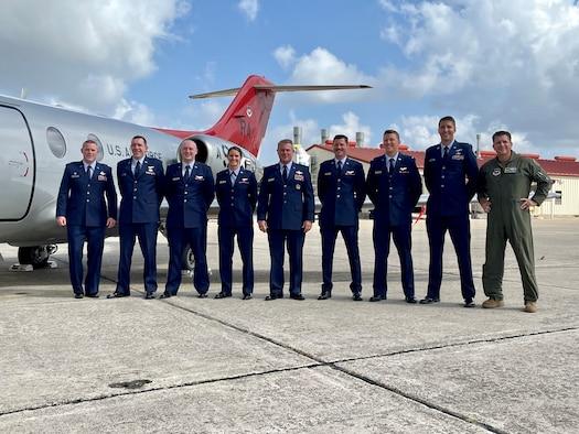 Brig. Gen. Craig McPike joins pilot training graduates from the 99th Flying Training Squadron at JBSA-Randolph, Sept. 2, 2021.