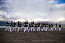 Marines with the Silent Drill Platoon perform on the flight line at Marine Corps Base Hawaii, Sept. 10, 2021.