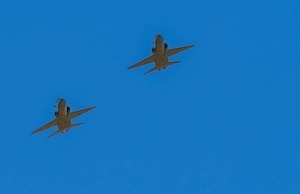 Two T-38 Talons from the 416th Flight Test Squadron, 412th Test Wing, Edwards Air Force Base, California perform a flyover in honor of retired U.S. Air Force Col. Robert F. Waggoner, during a memorial service at Bishop, California, Sept. 12. (Air Force photo by Danny Bazzell)