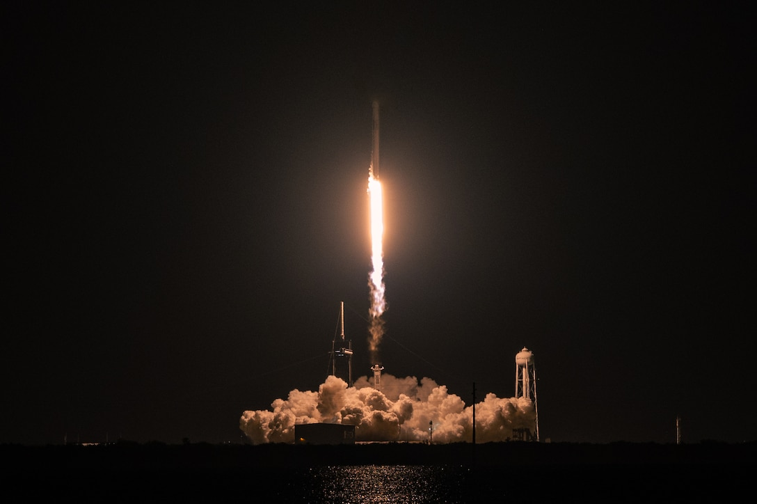 A Falcon 9 rocket launches Inspiration4 toward space Sept. 15, 2021, at Kennedy Space Center, Florida. Four private citizens were transported into orbit inside Space-X's Dragon Resilience capsule. The crew, which is the first to be made up exclusively by private citizens, will orbit the Earth for three days. (U.S. Space Force photo by Airman 1st Class Thomas Sjoberg)