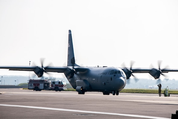 An HC-130J Combat King II taxis on the flightline at RAF Mildenhall, England, Sept. 16, 2021. Defenders from the 501st Combat Support Wing, 48th Fighter Wing and 100th Air Refueling Wing returned on the flight from Ramstein Air Force Base, Germany, after providing support for Operation Allies Refuge. (U.S. Air Force photo by Senior Airman Eugene Oliver)