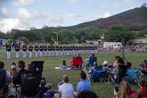 """Marines with the Silent Drill Platoon execute their """"long line"""" sequence during the Patriot's Day Remembrance Ceremony at Marine Corps Base Hawaii, Sept. 11, 2021."""