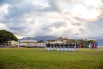 Marines with the Silent Drill Platoon perform during the Patriot's Day Remembrance Ceremony at Marine Corps Base Hawaii, Sept. 11, 2021.