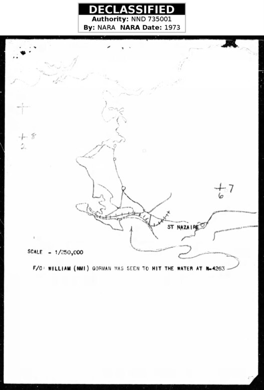 Map of loss location for F/O William Gorman, 405th Fighter Squadron, 7 August 1944 near St. Nazaire, France. (Missing Air Crew Report (MACR) 7646, via Fold3)