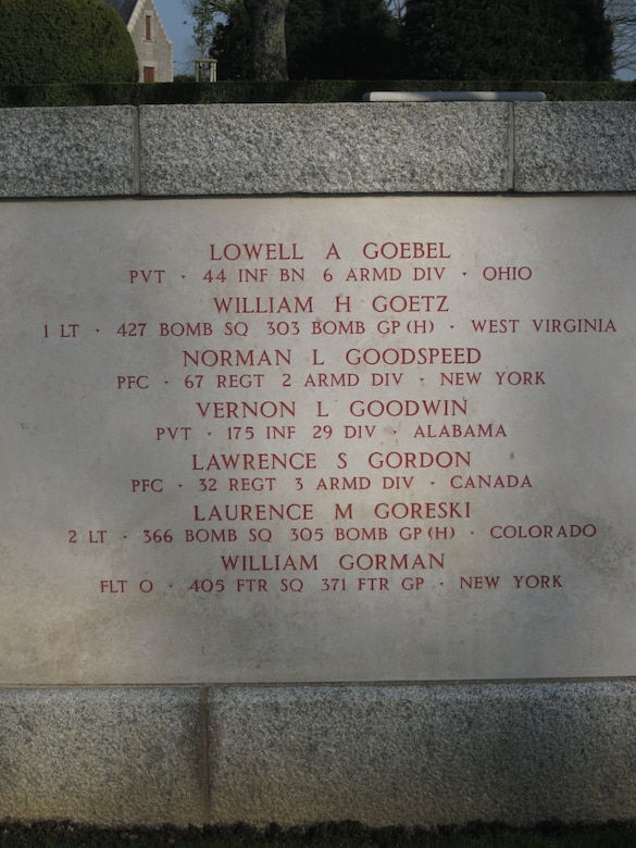 F/O William Gorman's name is inscribed on the Tablets of the Missing at the Brittany American Cemetery near St. James, France. (Find-A-Grave)