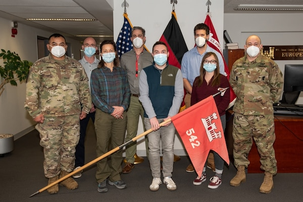 Members of the 542nd Engineer Detachment, Forward Engineer Support Team—Advanced (FEST-A), pose for a group photo at the U.S. Army Corps of Engineers Europe District headquarters in Wiesbaden, Germany, Apr. 8, 2021. U.S. Army photo by Alfredo Barraza