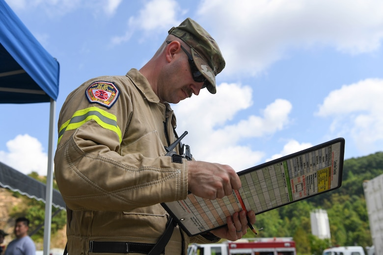 Technical Sgt. Robert Laidlow, 167th Fire and Emergency Services, monitors and keeps account of the firemen assigned to his team during collapsed structure training a part of Exercise Vigilant Guard 2021 August 27, 2021.