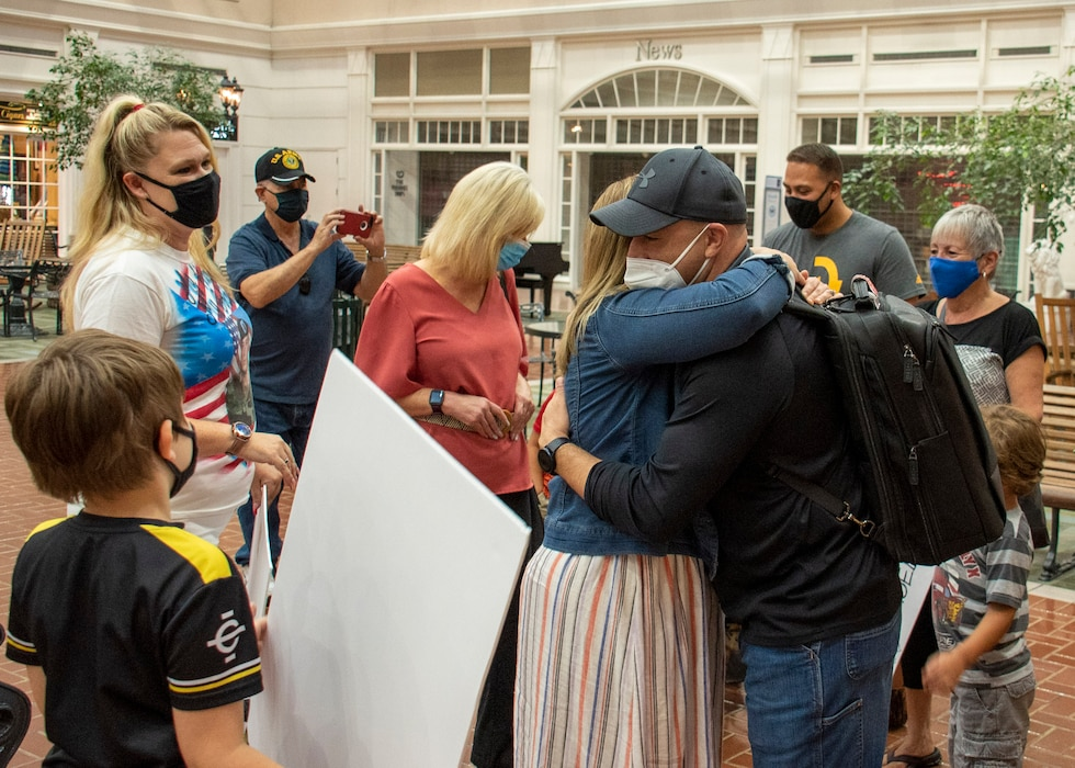 Sgt. 1st Class Carlos Colon, Jr, is surprised by friends and family, Sept. 15, at the Savannah Hilton Head International Airport following a 6-month deployment with the 542nd Engineer Detachment, Forward Engineer Support Team – Advance.