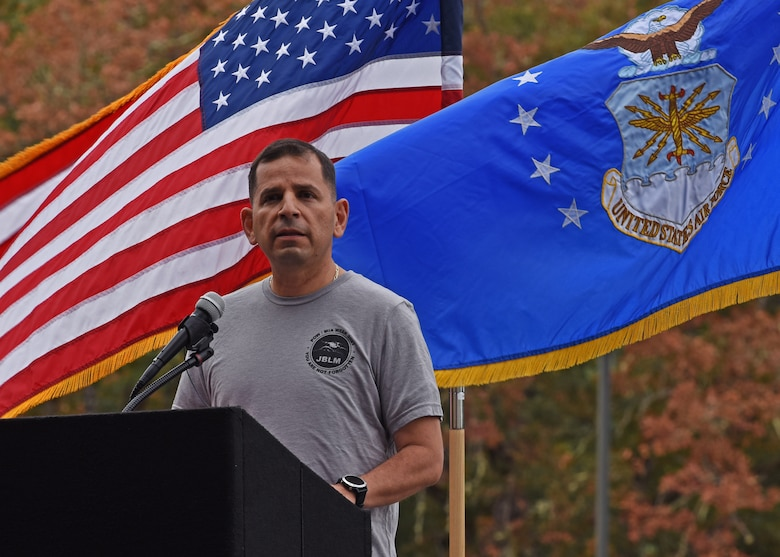 U.S. Air Force Col. Sergio Anaya, 62nd Operations Group commander, gives opening remarks during the 24-hour POW/MIA Remembrance run at Joint Base Lewis-McChord, Washington, Sept. 15, 2021. The run, in addition to the other scheduled events of the week, was to honor the more than 81,000 Americans who are still missing in action. (U.S. Air Force photo by Senior Airman Zoe Thacker)