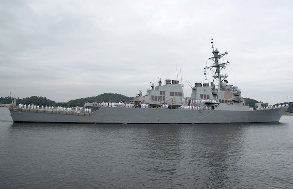 USS John S. McCain (DDG 56) departs Commander Fleet Activities Yokosuka (CFAY) while shifting its homeport to Naval Station Everett, Washington.