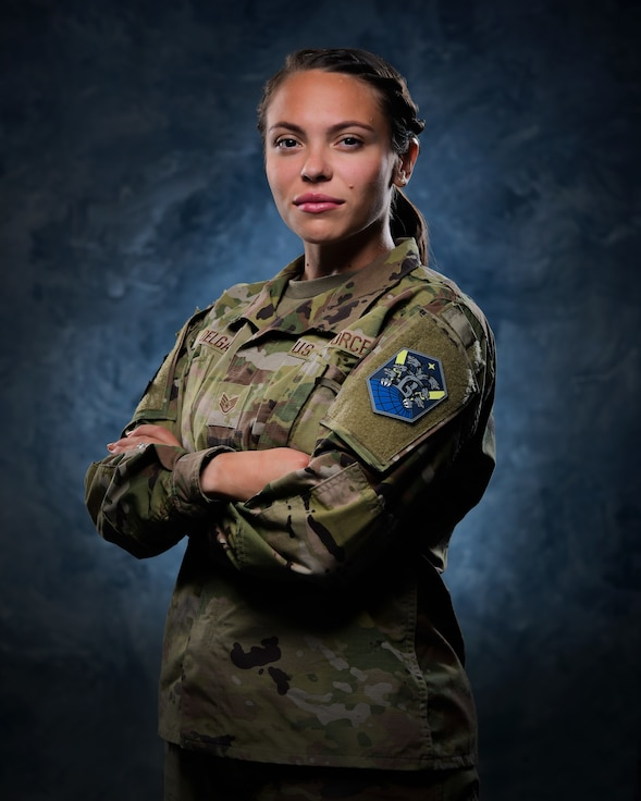 Staff Sgt. Cindy Delgado, 50th Contracting Squadron contract specialist, stands for portrait.