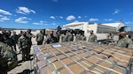 Army South personnel learn pallet loading and securing at Joint Base San Antonio-Kelly Field Annex Sept. 14 as part of the Army South Contingency Command Post during a level II deployment readiness exercise.