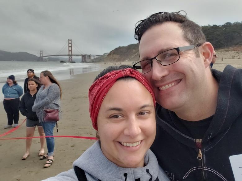 Christine Rodriguez and husband on San Francisco's Baker Beach.
