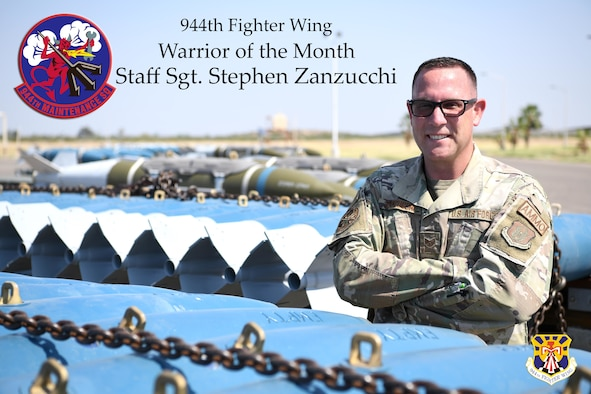 Reserve Citizen Airman Staff Sgt. Stephen Zanzucchi, 944th Maintenance Squadron Munitions Support Equipment Maintenance crew chief, poses for a photo at Luke Air Force Base, Arizona, September 16, 2021. Zanzucchi was an elementary school teacher for eight years and enjoys writing children's books as a hobby. (U.S. Air Force photo/Tech. Sgt. Courtney Richardson)