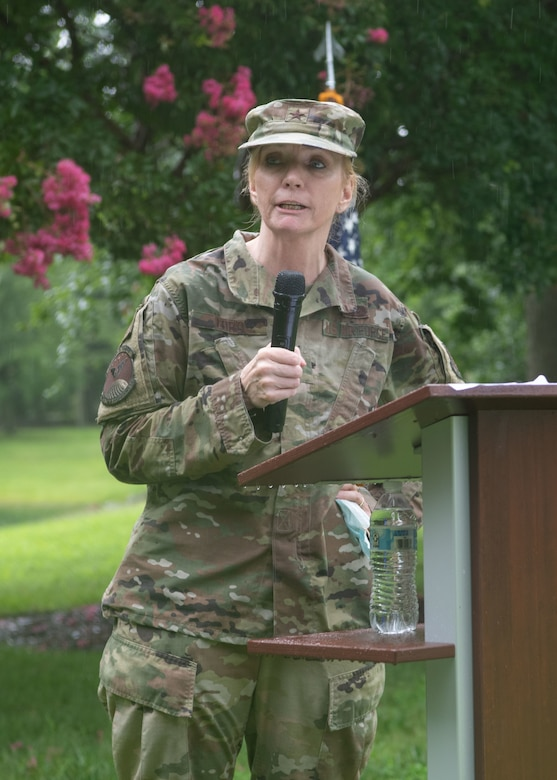 Brig. Gen. Toni M. Lord, Virginia National Guard Air Component commander addresses members from the 185th Cyberspace Operations Squadron before their upcoming mission with family and command leadership during send-off ceremonies Aug. 7, 2021, at Joint Base Langley-Eustis, Virginia.