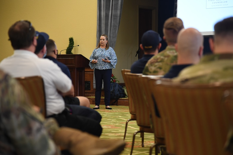 Amy Morgan, Academy Hour founder and CEO, delivers remarks during the Suicide Explained & Suicide Intervention training inside the Bay Breeze Event Center at Keesler Air Force Base, Mississippi, Sept. 17, 2021. With suicide being the leading cause of death in the Air Force, the presentation focus was to provide skill based training in primary prevention for personnel at Keesler. (U.S. Air Force photo by Kemberly Groue)