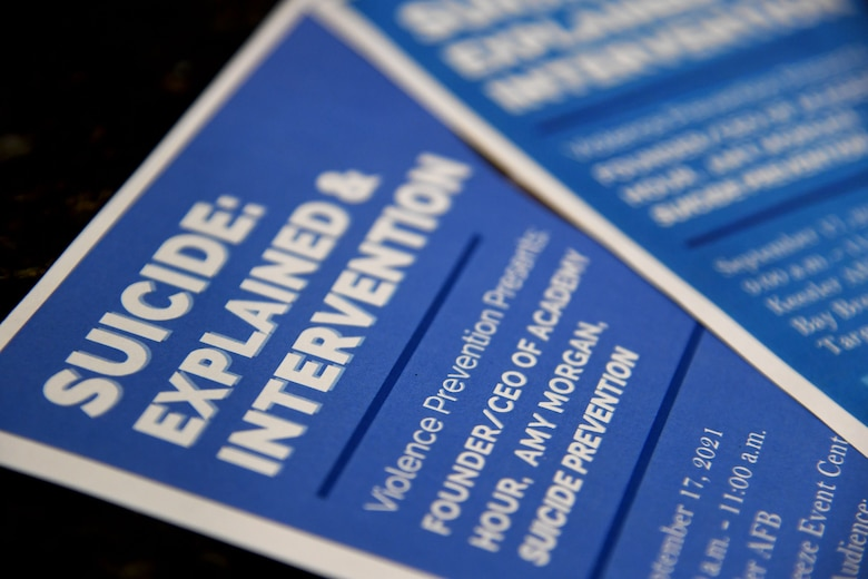 Flyers are on display during the Suicide Explained & Suicide Intervention training inside the Bay Breeze Event Center at Keesler Air Force Base, Mississippi, Sept. 17, 2021. With suicide being the leading cause of death in the Air Force, the presentation focus was to provide skill based training in primary prevention for personnel at Keesler. (U.S. Air Force photo by Kemberly Groue)