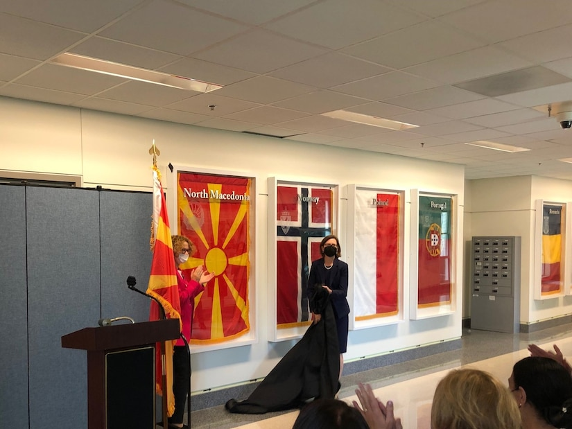 Two defense leaders unveil flag.