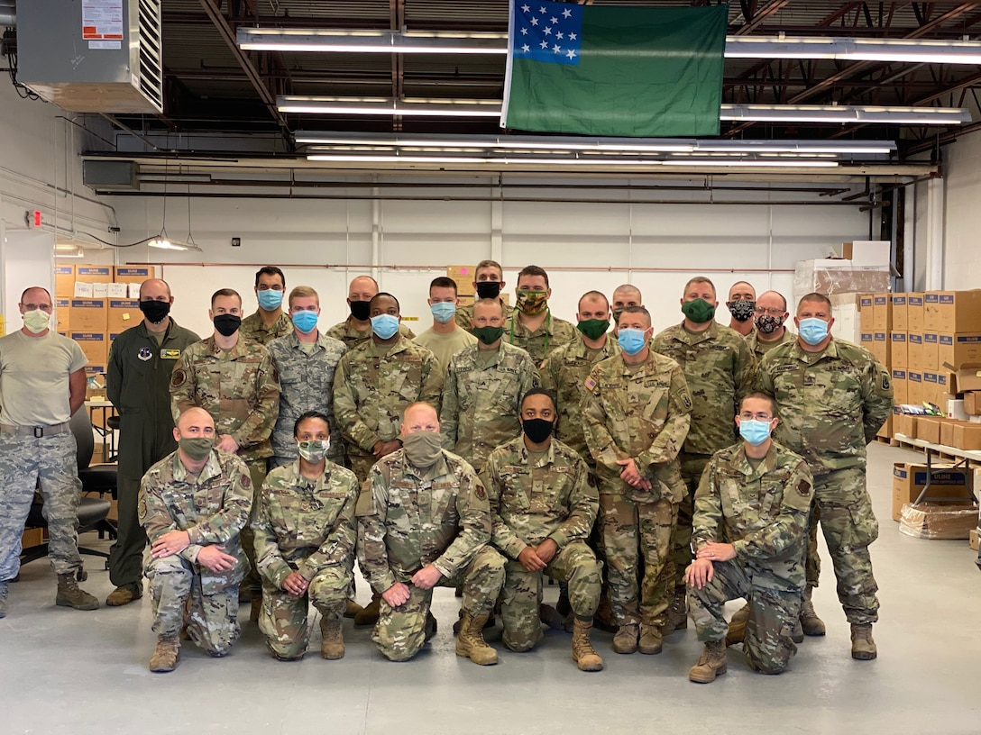 Members of the Vermont National Guard at the Vermont Medical Countermeasures Warehouse Sept. 18, 2020. Guard members continue to work at the site in September 2021, distributing COVID-19 vaccines and personal protective equipment throughout Vermont.