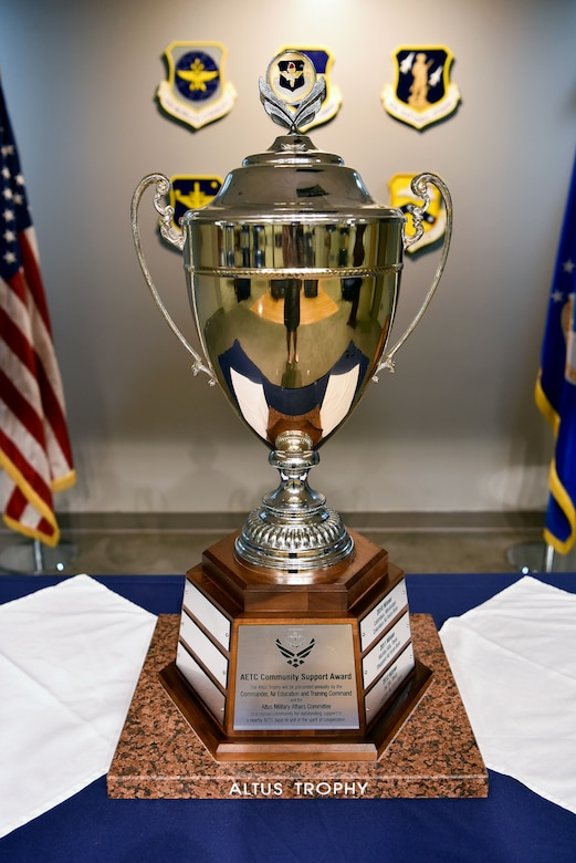 A trophy sits on display