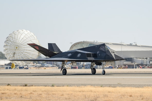 An F-117 Nighthawk lands for the first time at the Fresno Yosemite International Airport, Sept 13, 2021, to conduct training missions with the local Air National Guard unit. Two F-117 Nighthawks are participating in dissimilar air combat training missions this week along with F-15 pilots from the 144th Fighter Wing in Fresno, Calif. (Air National Guard photo by Capt. Jason Sanchez)