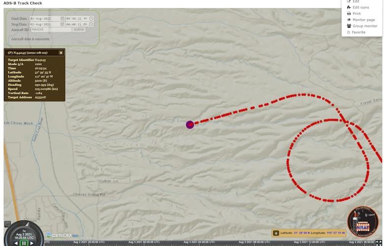Screenshot from computer showing aircraft flight path