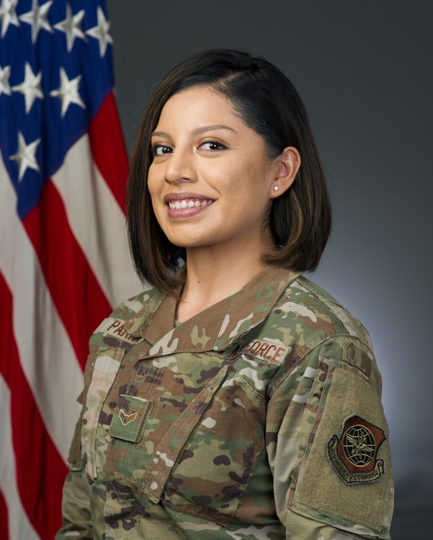 U.S. Airman 1st Class Karla Parra, 60th Air Mobility Wing broadcast journalist, poses for a photo