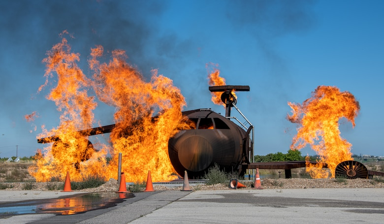 An aircraft is set on fire as part of an aircraft live-fire burn conducted by the 419th Civil Engineer Squadron at Hill Air Force Bas