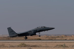 Four F-15 Strike Eagle IIs assigned to the 332nd Air Expeditionary Wing take off in support of Bright Star