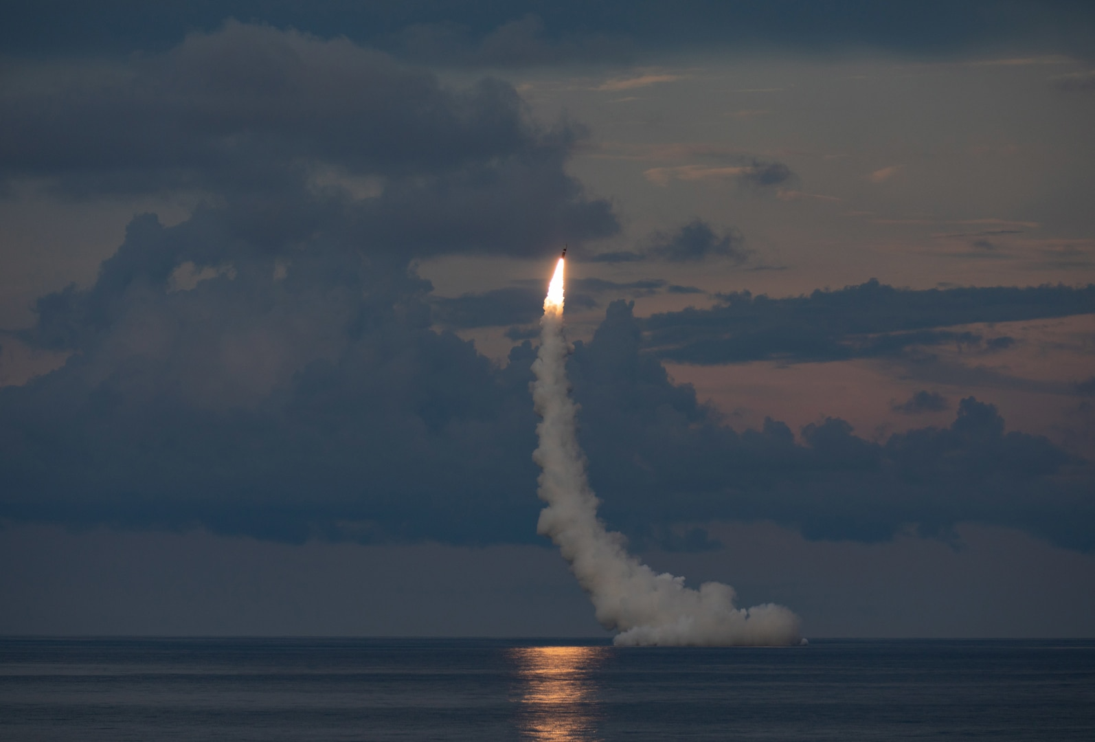 An unarmed Trident II D5LE missile launches from the Ohio-class ballistic missile submarine USS Wyoming (SSBN 742) off the coast of Cape Canaveral, Florida, during Demonstration and Shakedown Operation (DASO) 31.