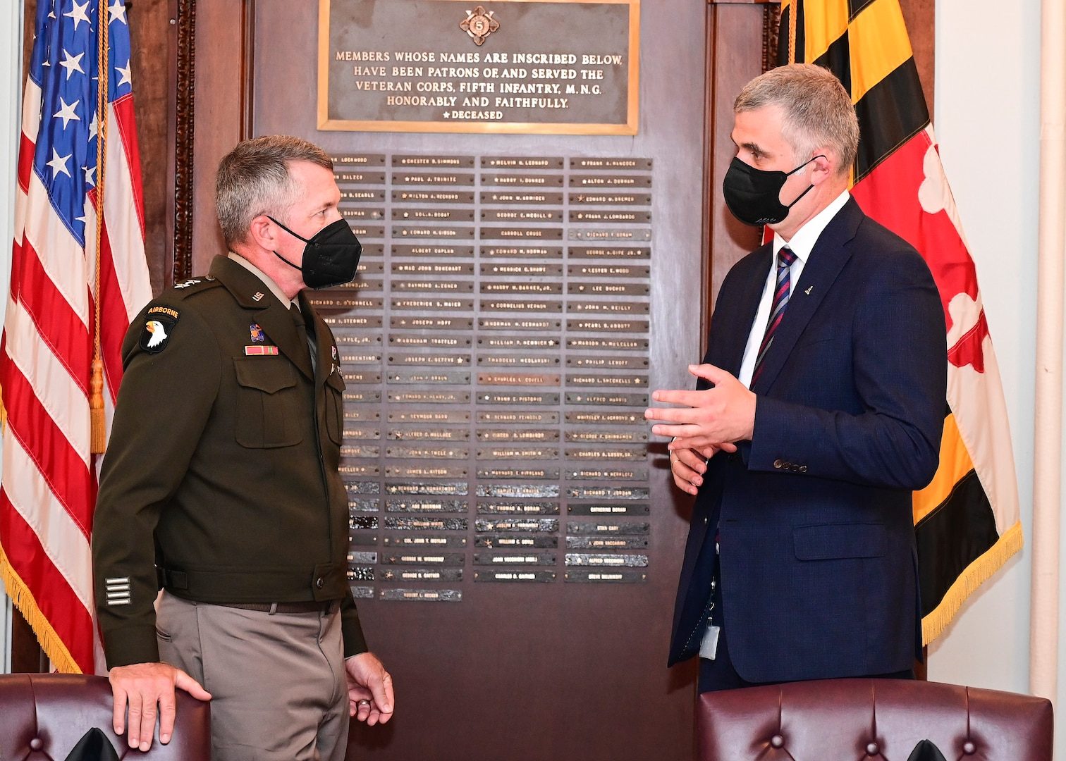 Kristjan Prikk (right), the Estonian Ambassador to The United States of America, met with U.S. Army Maj. In Baltimore, Maryland, Gen. Timothy Gowen (left), adjutant general for Maryland, was at the Fifth Regiment Armory on Sept. 15, 2021.