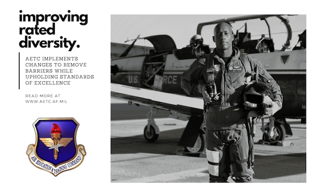 """graphic of African American pilot posing in front of a T-6 Texan air frame with text stating """"improving rated diversity"""