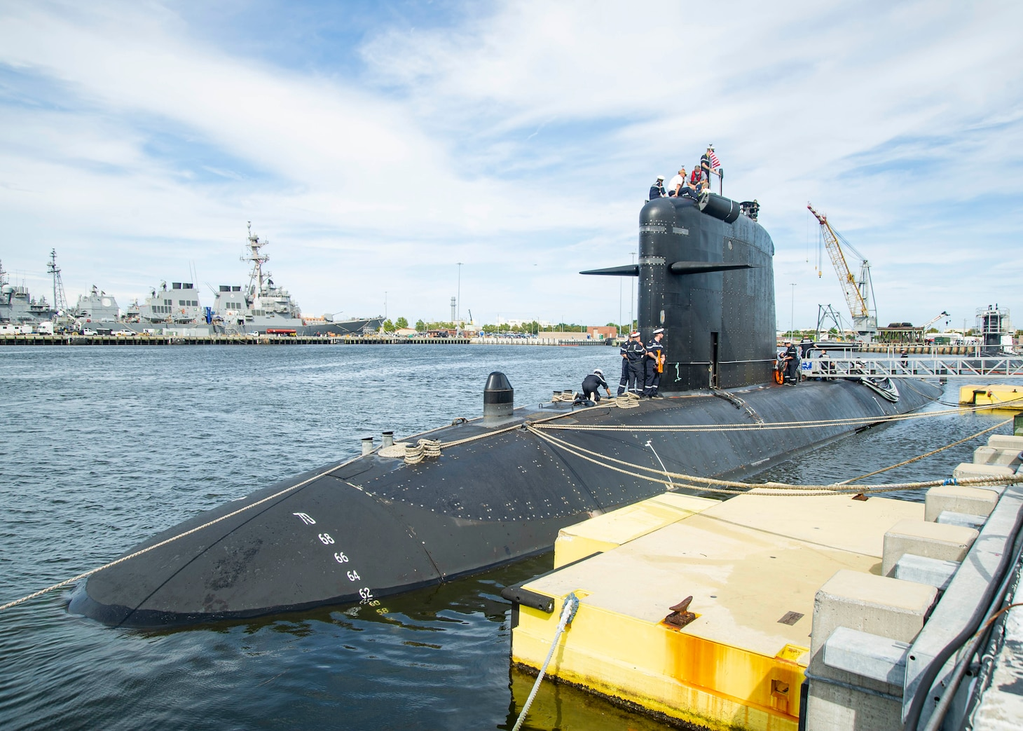 French submarine FNS Améthyste (S605) moors pier side at Naval Station Norfolk, Sept. 16, 2021