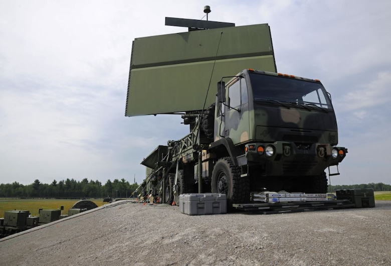 """Officials from the Three-Dimensional Expeditionary Long-Range Radar Rapid Prototyping program office, headquartered at Hanscom Air Force Base, Mass., are currently utilizing the """"SpeedDealer"""" strategy to acquire a production-ready, commercially available upgrade for the TPS-75 radar, pictured on a transport vehicle here. To support this effort, the team awarded a $4 million integration contract with production options to Northrop Grumman Corp. Sept. 17. (U.S. Air National Guard photo by Senior Airman Ryan Zeski/Released)"""