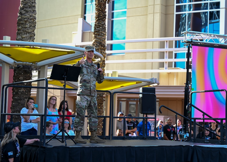 Brig. Gen. Gregory Kreuder, 56th Fighter Wing commander, gives a speech at the 9/11 Tower Challenge at the Gila River Arena Sept. 11, 2021, in Glendale, Arizona.