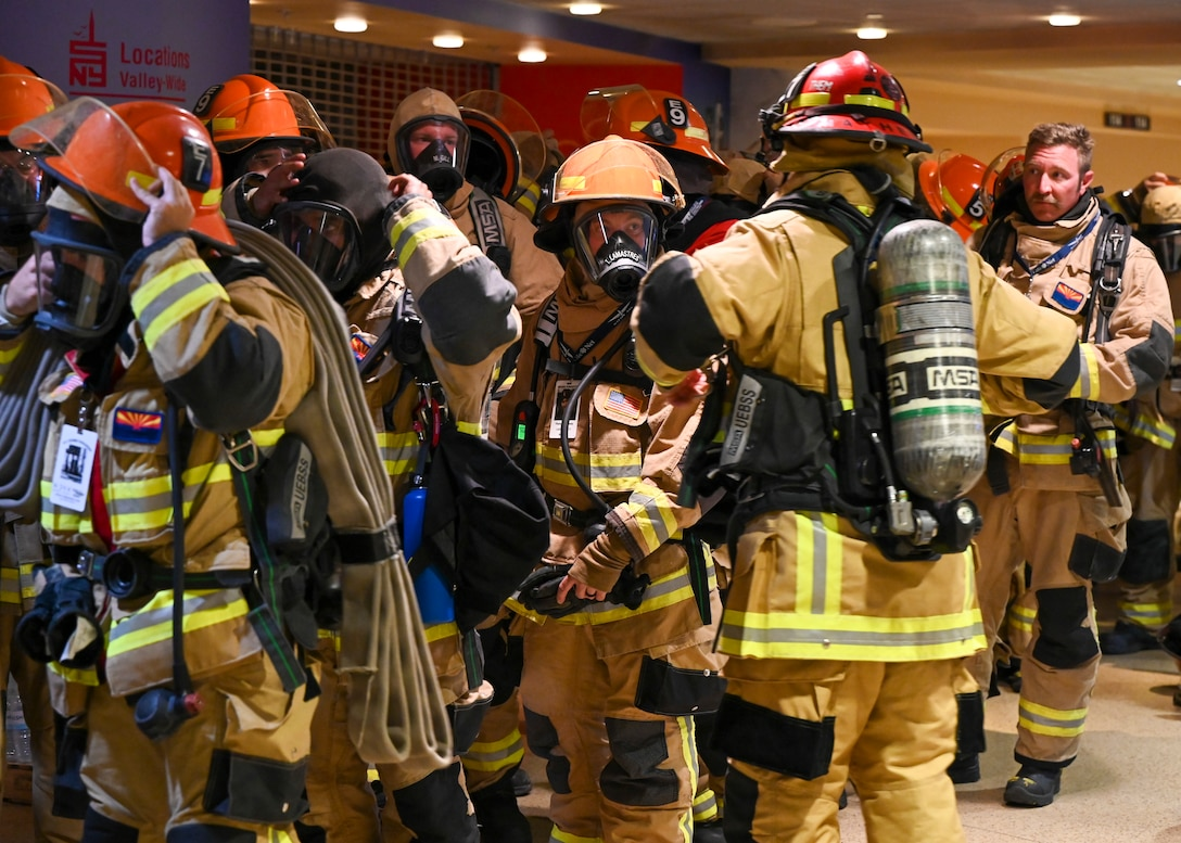 Firefighters prepare for the 9/11 Tower Challenge at Gila River Arena Sept. 11, 2021 in Glendale, Arizona.