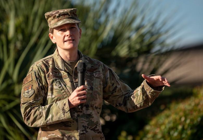 U.S. Air Force Col. Jocelyn Schermerhorn, 1st Special Operations Wing commander, speaks during a 9/11 Memorial Ruck Ceremony