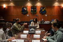 U.S. Air Force Lt. Gen. David Krumm, commander, Alaskan North American Aerospace Defense Command Region, Alaskan Command and Eleventh Air Force, sits down with Norway Ambassador Anniken Krutnes, Consul General of Finland Okko-Pekka Salmimies and their teams to prepare for the Arctic Speaker Series at Joint Base Elmendorf-Richardson, Alaska, Sept. 16, 2021. The series is part of an ongoing effort to open dialogue on the strategic importance of the Arctic.