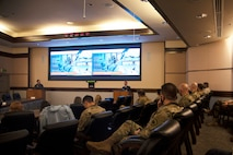 The Embassy of Finland's Defense Attaché Colonel Petteri Seppälä addresses Alaskan Command personnel during the Arctic Speaker Series at Joint Base Elmendorf-Richardson, Alaska, Sept. 16, 2021. The series is part of an ongoing effort to open dialogue on the strategic importance of the Arctic