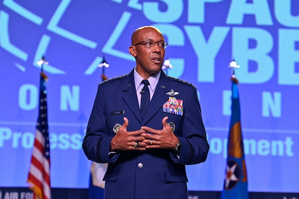 """Air Force Chief of Staff Gen. CQ Brown, Jr. answers questions after delivering his """"Accelerate Change to Empowered Airmen"""" speech during the 2021 Air Force Association Air, Space and Cyber Conference in National Harbor, Md., Sept. 20, 2021."""