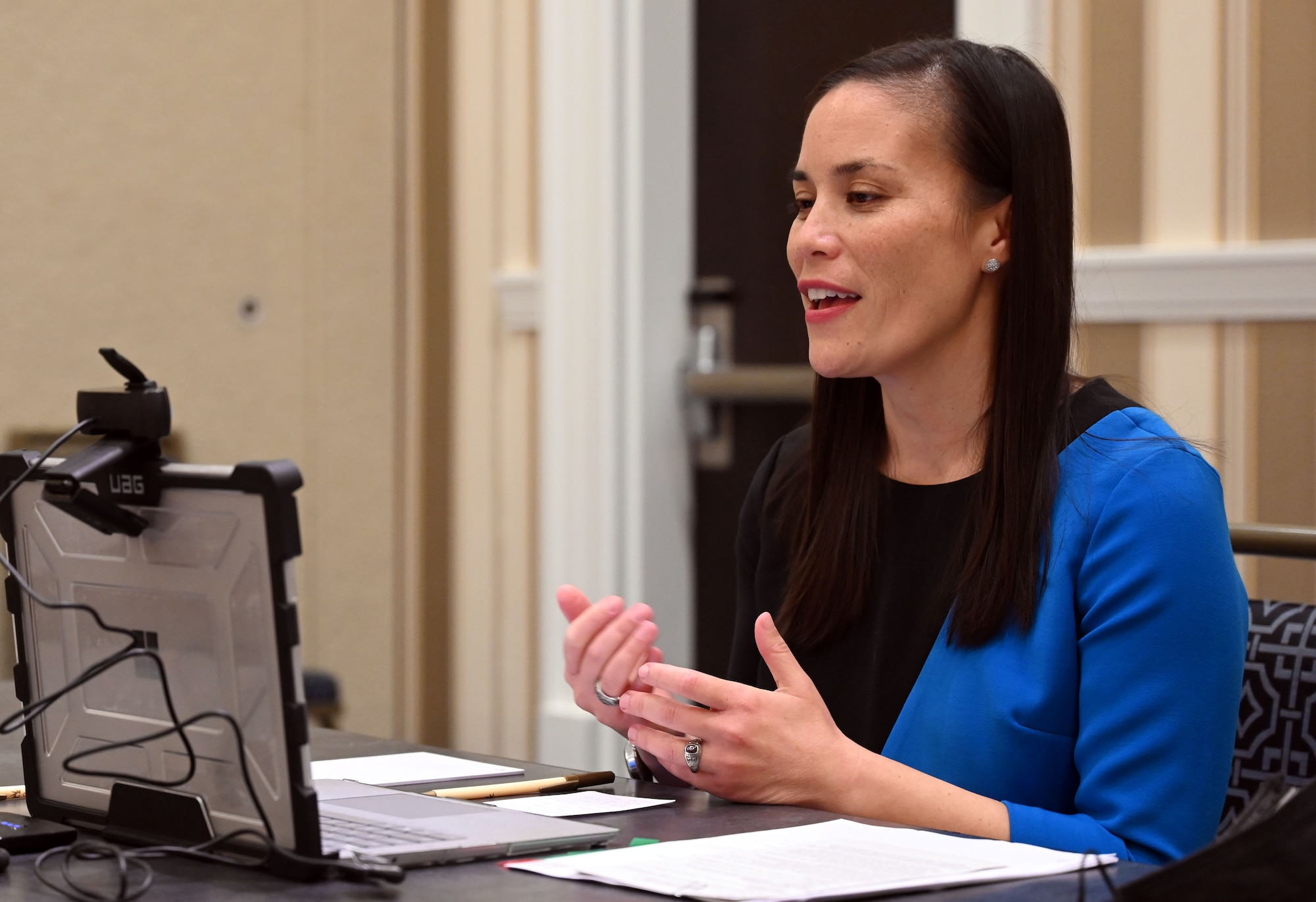 Under Secretary of the Air Force Gina Ortiz Jones speaks at the virtual Congressional Equality Caucus Don't Ask Don't Tell Commemoration Event, held Sept. 20, 2021.