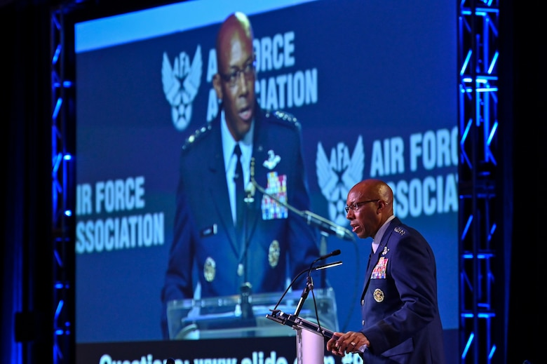 """Air Force Chief of Staff Gen. CQ Brown, Jr. delivers his """"Accelerate Change to Empowered Airmen"""" speech during the 2021 Air Force Association Air, Space and Cyber Conference in National Harbor, Md., Sept. 20, 2021."""
