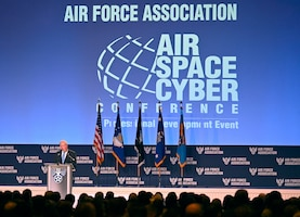 Secretary of the Air Force Frank Kendall delivers remarks during the Air Force Association Air, Space and Cyber Conference in National Harbor, Md., Sept. 20, 2021.